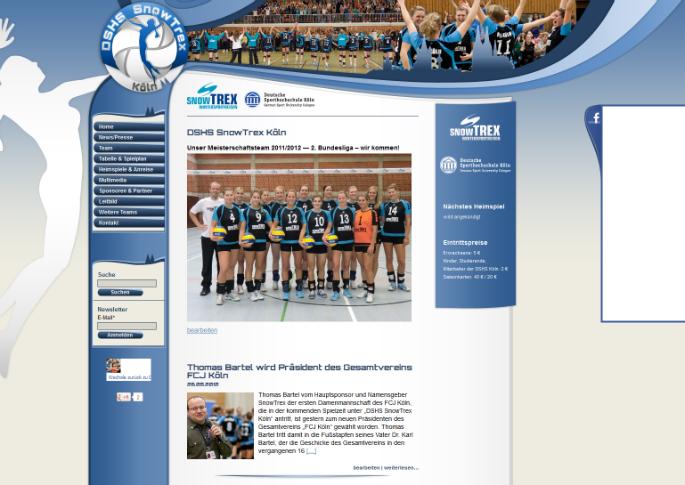 Die neue Homepage der DSHS SnowTrex Köln Volleyballerinnen