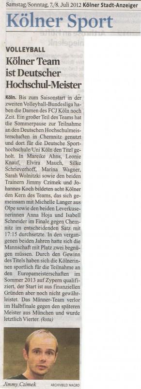 Kölner Team ist Deutscher Hochschulmeister