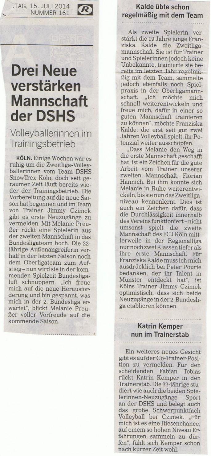 Kölner Rundschau 15.07.2014